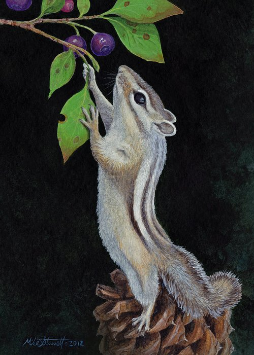 Chipmunk Greeting Card featuring the painting Reaching by Mike Stinnett