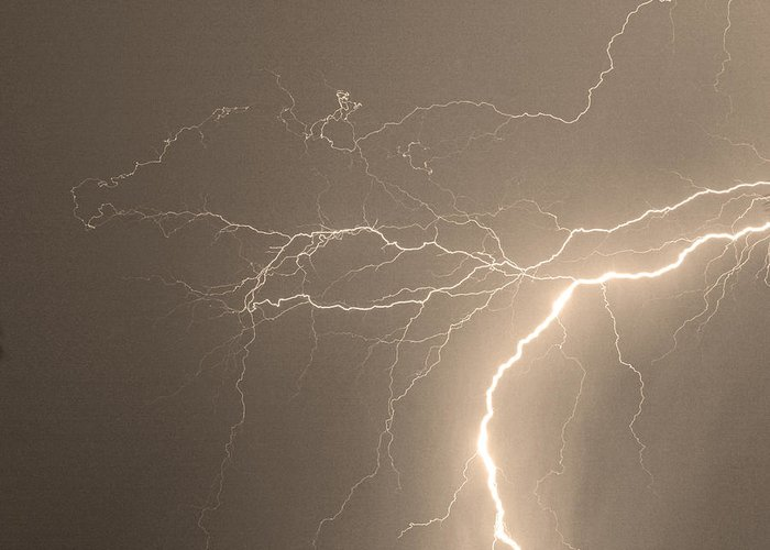 Lightning Greeting Card featuring the photograph Reaching Out Touching Me Touching You Sepia by James BO Insogna