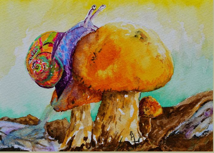 Snail Greeting Card featuring the painting Reaching The Summit by Beverley Harper Tinsley