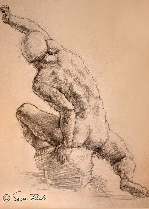 Figurative Greeting Card featuring the drawing Reaching Up by Sarah Parks
