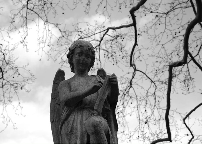 Cemetery Greeting Card featuring the photograph Reading Angel by Jennifer Ancker