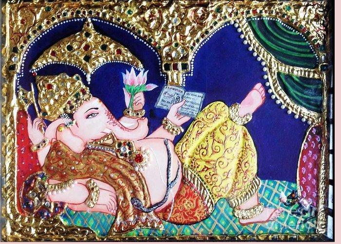 Tanjore Greeting Card featuring the painting Reading Ganesha by Jayashree