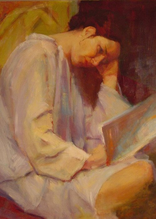 Figure Greeting Card featuring the painting Reading In The Blue Robe by Irena Jablonski