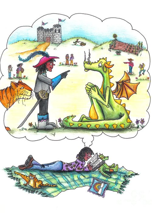 Landscape Greeting Card featuring the drawing Reading by Kelly Walston