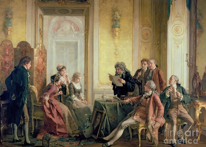Interior Victorian Sentiment Greeting Card featuring the painting Reading The Will by Otto Erdmann
