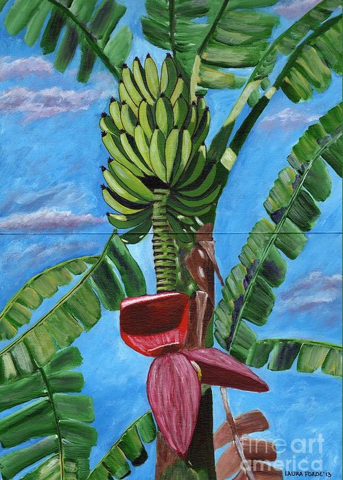 Banana Tree Greeting Card featuring the painting Ready For Harvest by Laura Forde
