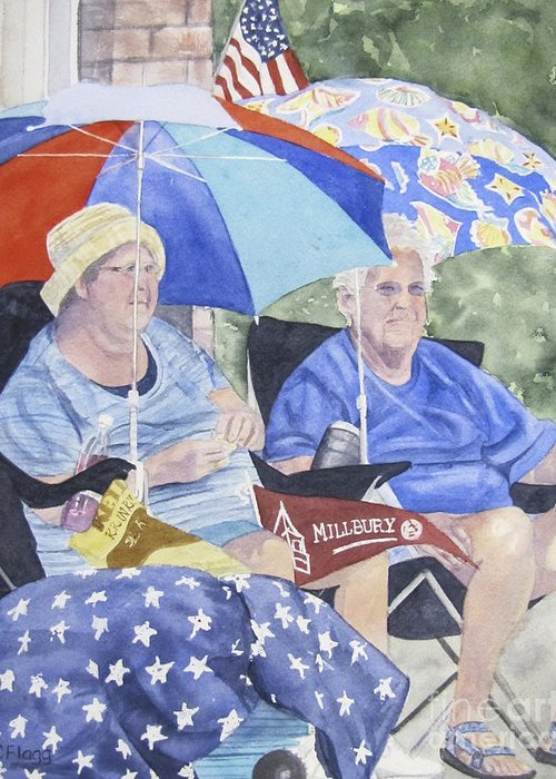 Watercolor Greeting Card featuring the painting Ready For The Millbury Parade by Carol Flagg
