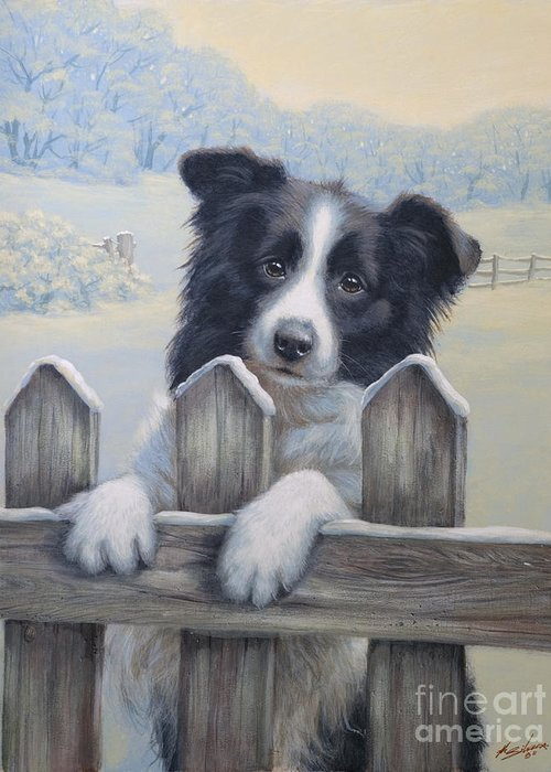 Dog Paintings Greeting Card featuring the painting Ready For Work by John Silver