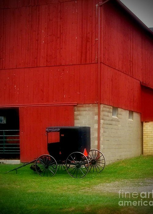 Amish Greeting Card featuring the photograph Readying The Buggy by Desiree Paquette