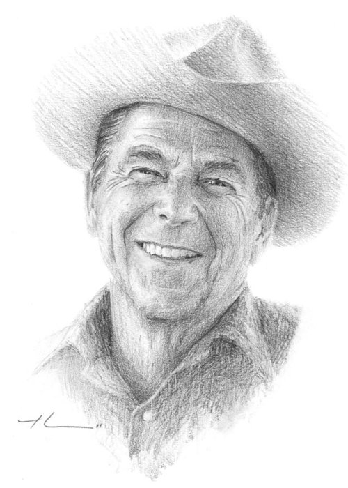 Www.miketheuer.com Greeting Card featuring the drawing Reagan Drawing Mike Theuer by Mike Theuer