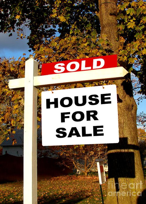 Real Estate Greeting Card featuring the photograph Real Estate Sold And House For Sale Sign On Post by Olivier Le Queinec