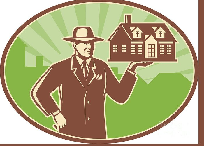Realtor Greeting Card featuring the digital art Realtor Real Estate Salesman House Retro by Aloysius Patrimonio