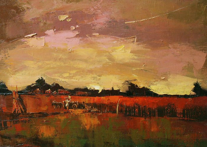 The Harvest Greeting Card featuring the painting Reaping by Anastasija Kraineva
