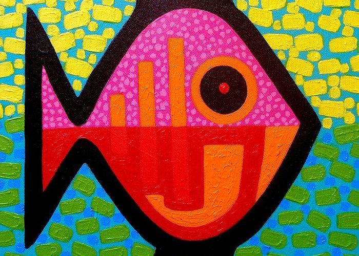 Fish Greeting Card featuring the painting Rebel Fish II by John Nolan