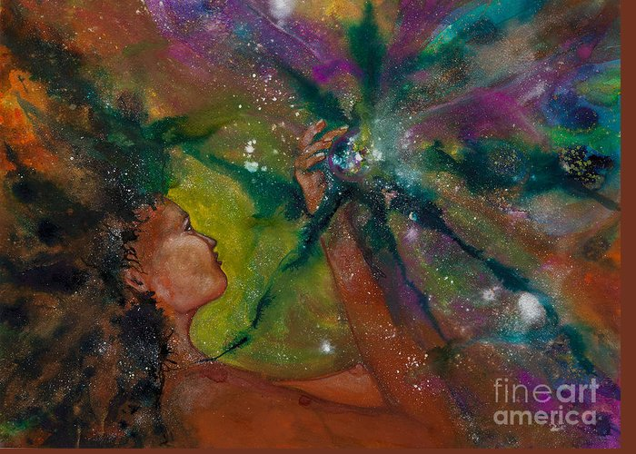 Female Greeting Card featuring the painting Recapturing Her Soul by Ilisa Millermoon