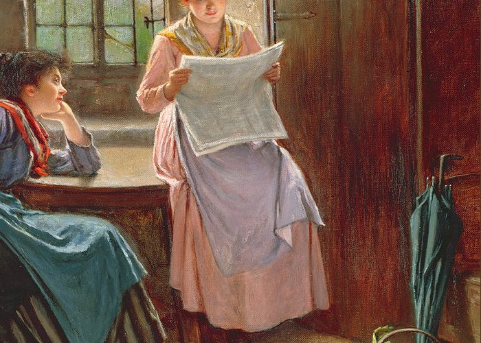 Interior; Newspaper; Letter; Reading; Female; Mother; Daughter; Daughters; Sisters; Girls; Family; Kitchen; Breakfast Table; Seated; Geraniums; Pot Plants; War Time; Communication; Victorian; Daily Life Scene; Anxiety; The Boer War Greeting Card featuring the painting Recent News by Haynes King
