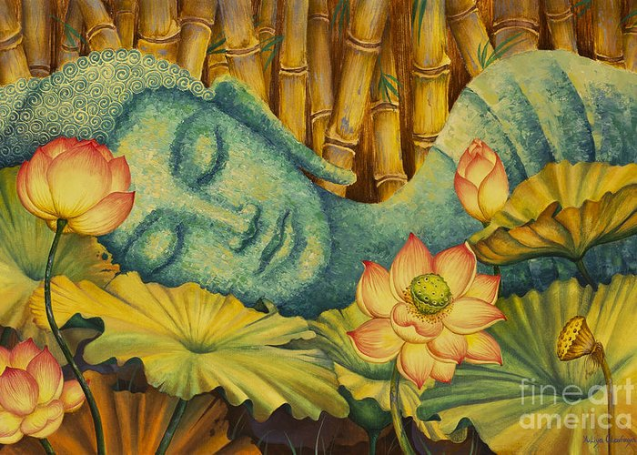 Buddha Paintings Greeting Card featuring the painting Reclining Buddha by Yuliya Glavnaya