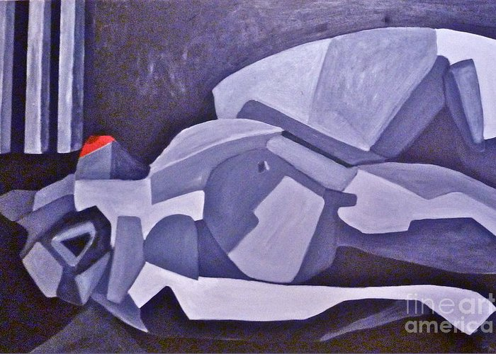 Gray Greeting Card featuring the painting Reclining Gray by Avi Zamir