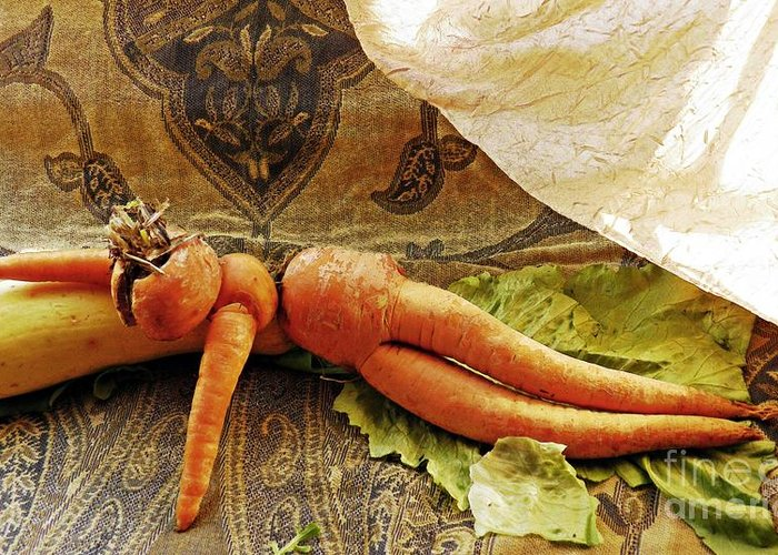 Carrot Greeting Card featuring the photograph Reclining Nude Carrot by Sarah Loft