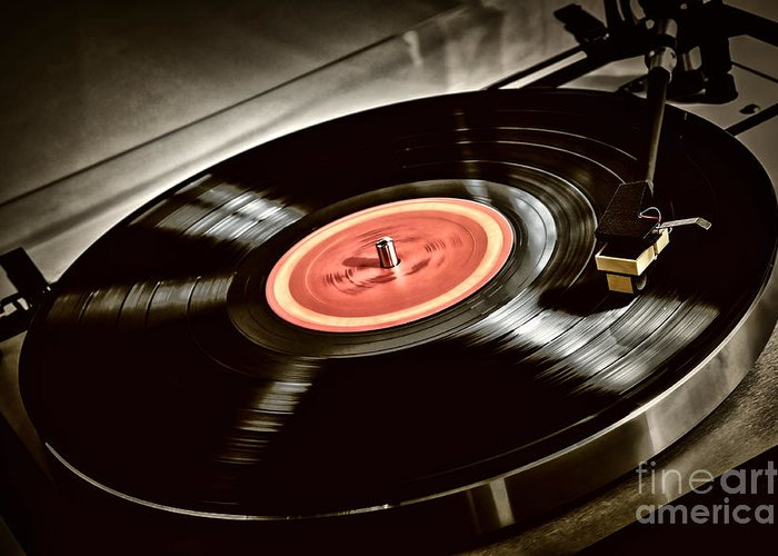 Vinyl Greeting Card featuring the photograph Record On Turntable by Elena Elisseeva