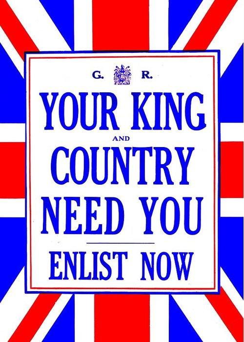 Great Britain Greeting Card featuring the photograph Recruiting Poster - Britain - King And Country by Benjamin Yeager