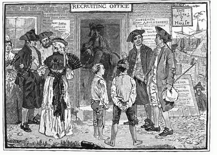 1778 Greeting Card featuring the photograph Recruitment, C1778 by Granger