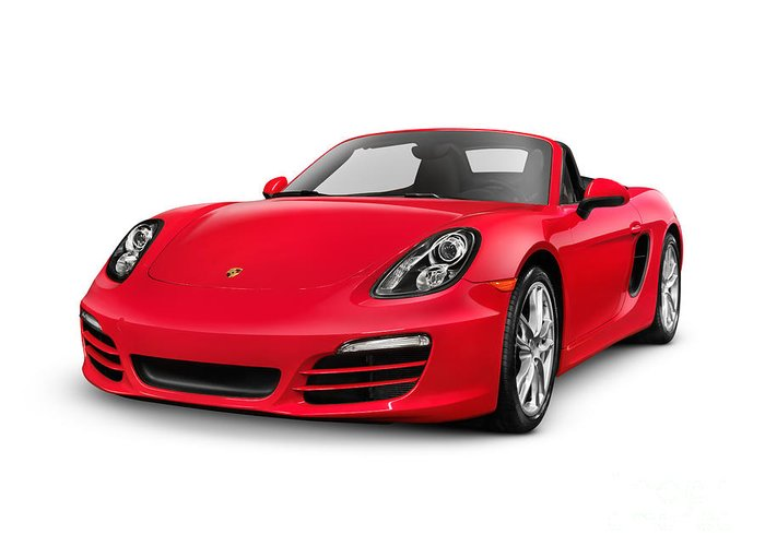 Porsche Greeting Card featuring the photograph Red 2014 Porsche Boxster S Convertible Luxury Car by Maxim Images Prints