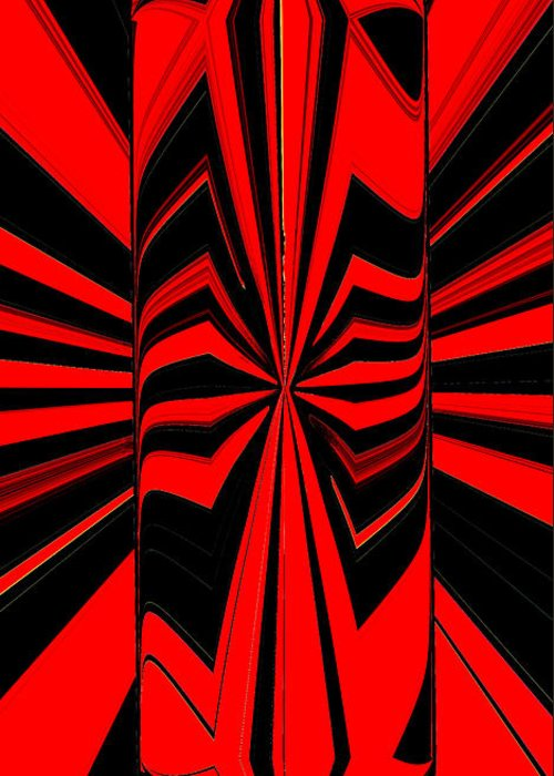 Abstract Greeting Card featuring the digital art Red And Black by Alexander Alvarez
