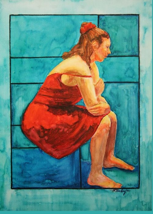 Greeting Card featuring the painting Red and Blue by Helen Hickey