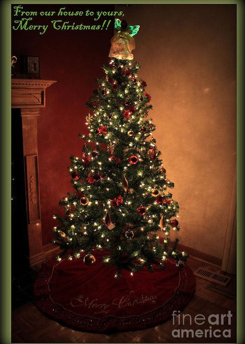 Green Greeting Card featuring the photograph Red And Gold Christmas Tree With Caption by Jennifer E Doll