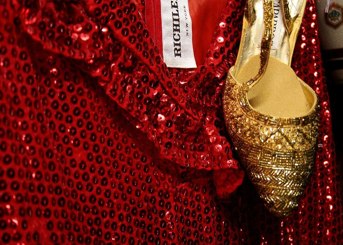 Fashion Greeting Card featuring the photograph Red And Gold Holiday by Toni Hopper