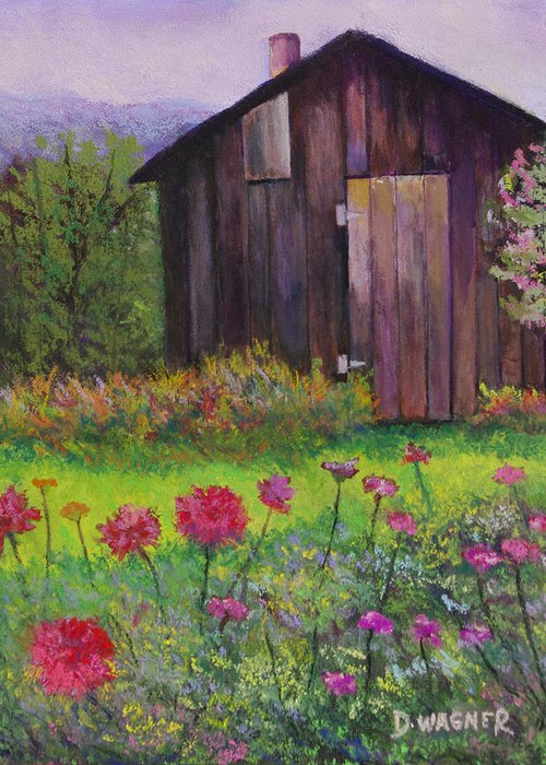 Pastel Greeting Card featuring the painting Red And Pink Flowers by Denise Wagner