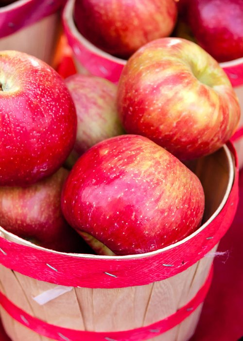 Apple Greeting Card featuring the photograph Red Apples In Baskets At Farmers Market by Teri Virbickis