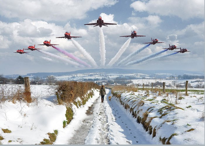Epen Greeting Card featuring the photograph Red Arrows Over Epen by Nop Briex