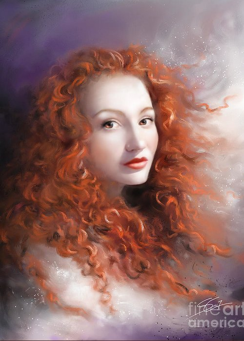 Woman Greeting Card featuring the painting Red Autumn by - Artificium -