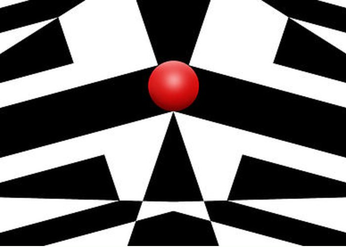Abstract Greeting Card featuring the digital art Red Ball 12a H Panoramic by Mike McGlothlen