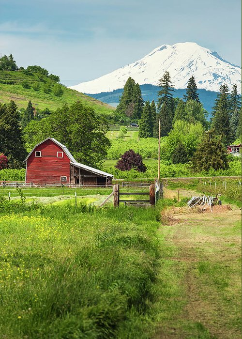 Scenics Greeting Card featuring the photograph Red Barn Green Farmland White Mountain by Fotovoyager