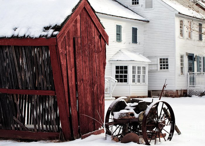 Red Barn In Winter Greeting Card featuring the photograph Red Barn In Winter by John Rizzuto