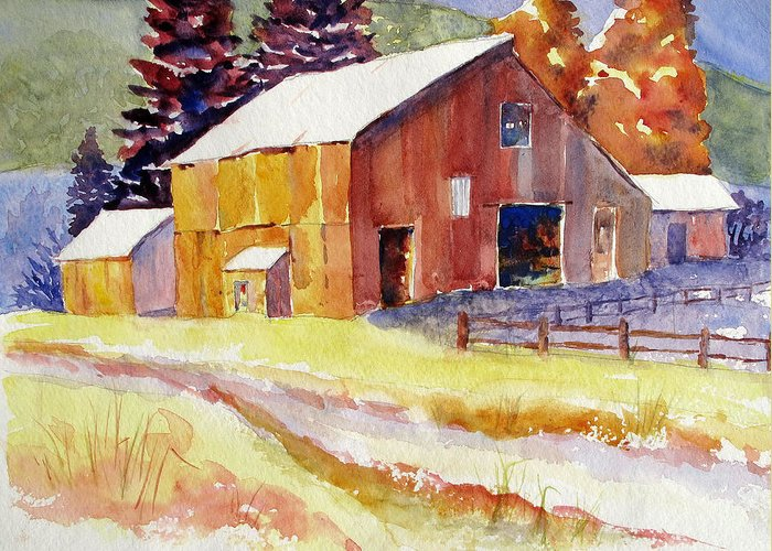 Greeting Card featuring the painting Red Barn by Linda Haile