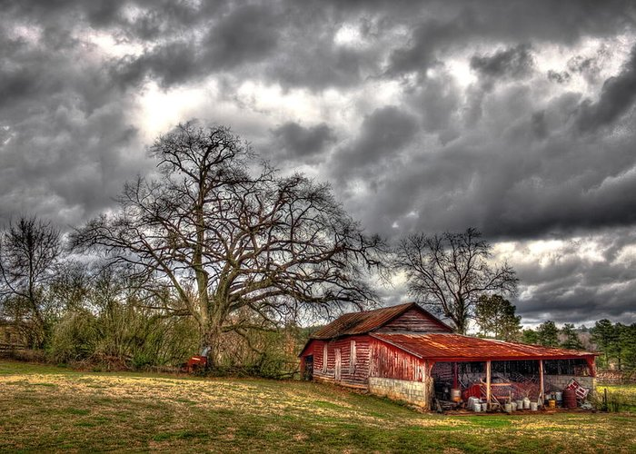 Reid Callaway Red Barn Greeting Card featuring the photograph Red Barn On The Boswell Farm by Reid Callaway