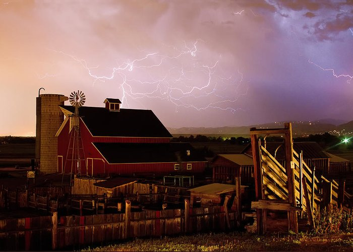 Lightning Greeting Card featuring the photograph Red Barn On The Farm And Lightning Thunderstorm by James BO Insogna