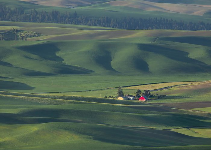 The Palouse Greeting Card featuring the photograph Red Barn by Peggy Kahan