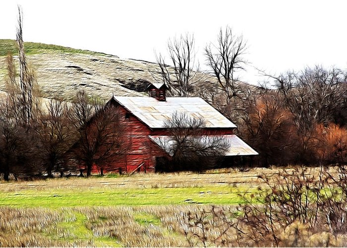 Cabin Greeting Card featuring the photograph Red Barn by Steve McKinzie