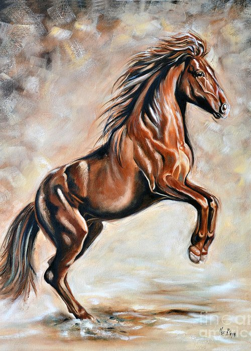 Horse Greeting Card featuring the painting Red Beauty by Ilse Kleyn