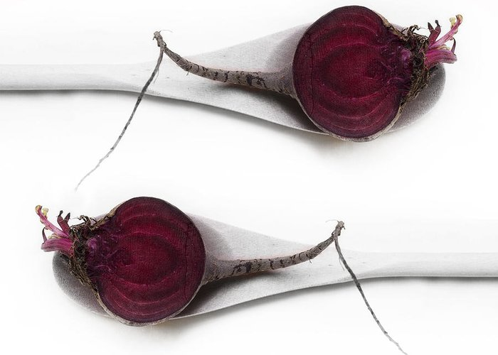 Table Beet Greeting Card featuring the photograph Red Beets by Priska Wettstein