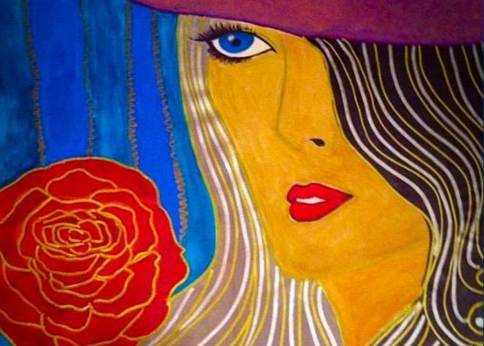 Beret Greeting Card featuring the painting Red Beret by Marissa Gullaba