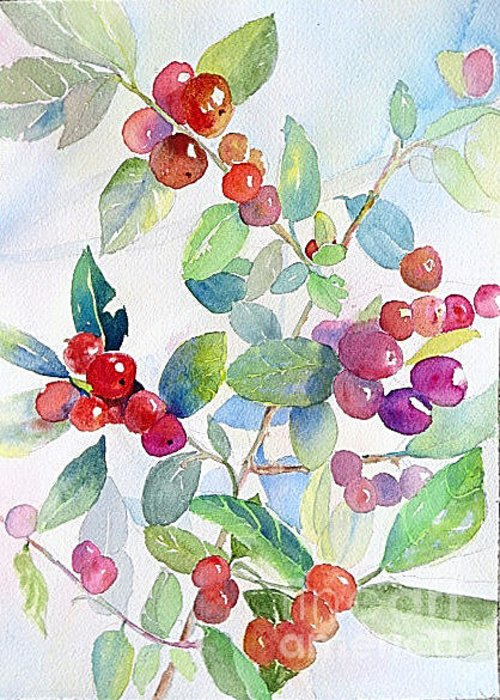 Greeting Card featuring the painting Red Berries by Linda Haile