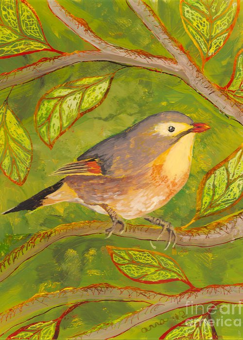 Hawaii Birds Greeting Card featuring the painting Red-billed Leiothrix by Anna Skaradzinska