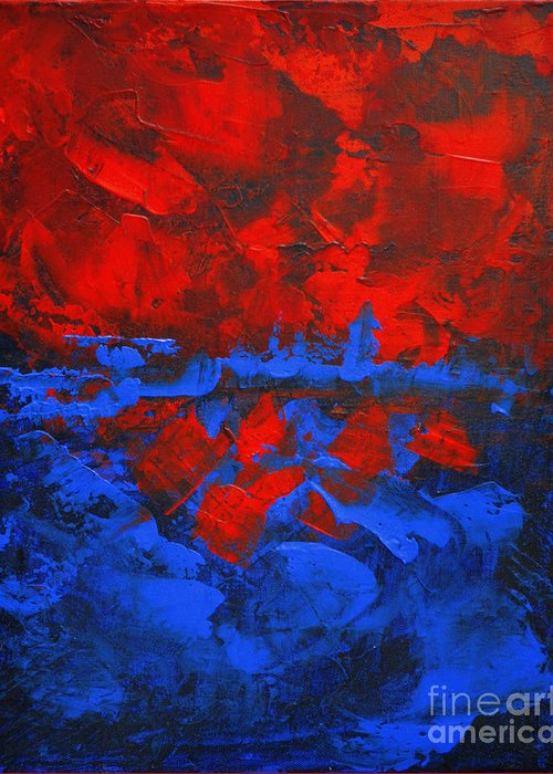 Abstract Painting Paintings Greeting Card featuring the painting Red Blue Abstract Make It Happen By Chakramoon by Belinda Capol