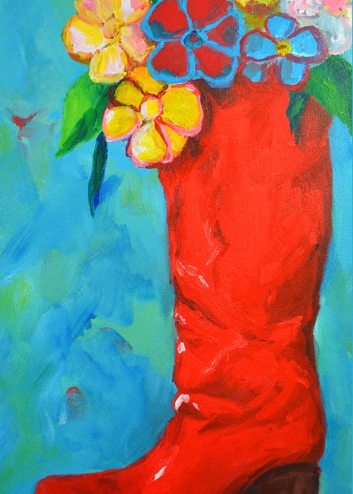 Art Greeting Card featuring the painting Red Boot With Flowers by Patricia Awapara